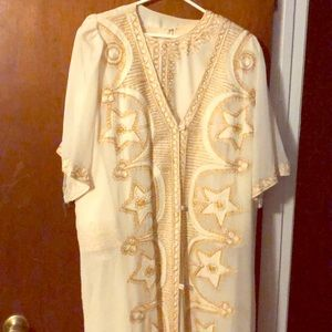 Egg White embroidered gold maxi dress with jacket